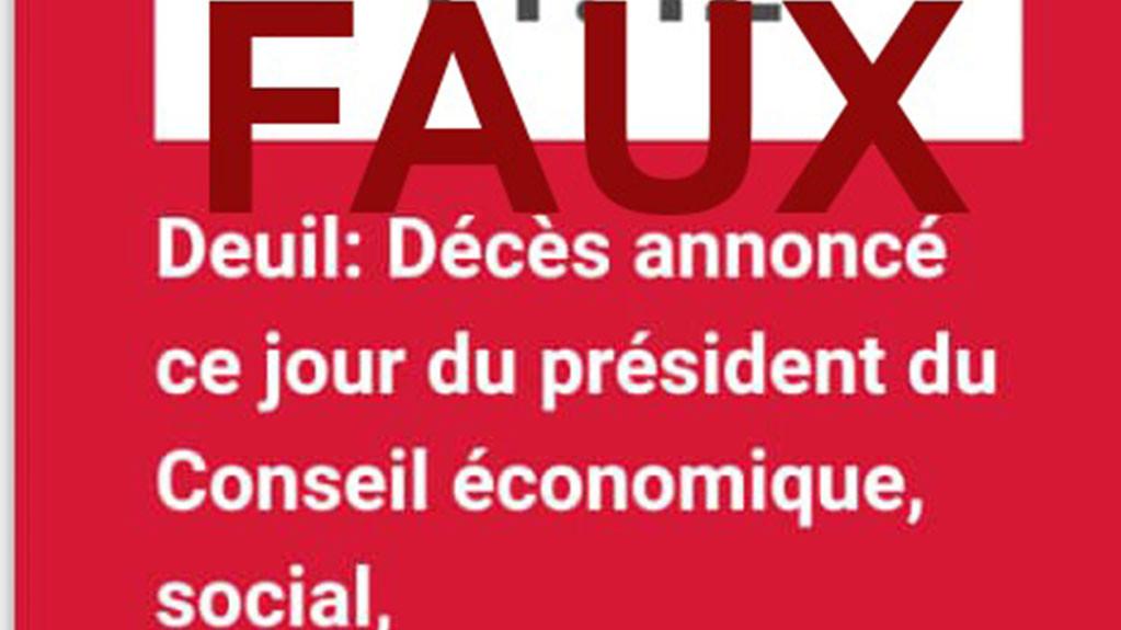 Non, Charles Koffi Diby, le Président du Conseil Economique, social, environnemental et culture, n'est pas décédé.